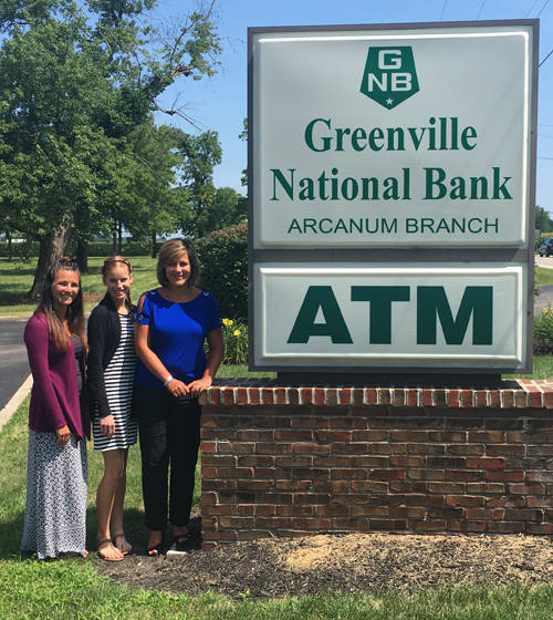 Greenville National Bank is a Gold sponsor for the Darke County Food Truck Rally & Competition. Pictured are Greenville National Bank Arcanum Branch Manager Amy Huber along with customer service representatives Maria Kauffman and Emily Wagner.