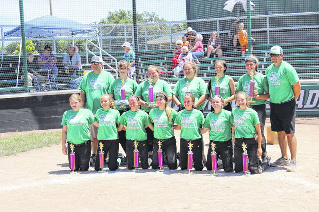 The Greenville #1 team was crowned tournament champions on Sunday after defeating Ansonia 4-3 in the 2018 Girls 7th/8th Grade Cross County League Softball Tournament held at Stebbins Field. The team, sponsored by Fellers Classic Auto Restoration, won all three of its games against Brookville, Greenville #2 and West Milton in the winner's bracket to reach the championship game. The Greenville team also won the tournanent title last year. See story and more photos on Page 2B.