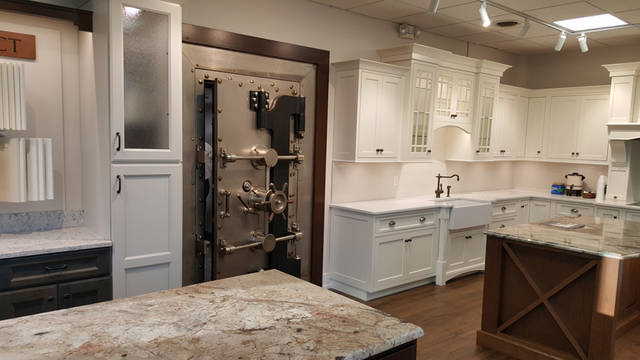 The 2 State St. location, which has been a bank for most of its 100-plus years, has been transformed into a studio with three rooms of cabinets, countertops and samples.