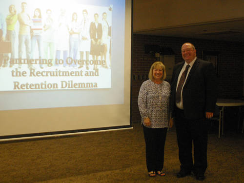 Spirit Medical Transport President and CEO Brian Hathaway (right) gave a presentation to Darke County Chamber of Commerce members about Spirit's apprenticeship program. He is pictured with Chamber President Sharon Deschambeau.