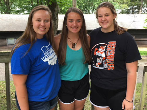 Versailles FFA members who attended the third session FFA Camp Muskingum included Courtney Batten, Tori Wuebker and Cayla Batten.
