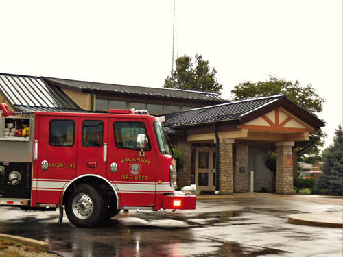 A reported lightning strike at Arcanum Family Health didn't cause any known damage to the structure, but one person was transported to Wayne Healthcare with minor injuries resulting from the strike.