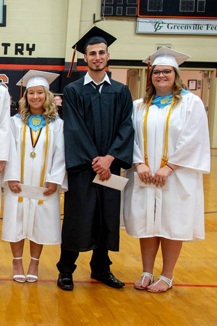 The Riffle Family Fund of the Darke County Foundation awarded its first scholarships to three Ansonia High School graduates Pictured (l-r) are Leah Wilburn, Nathan Mueller and Cierra Longenecker. The fund was established in 2018 by Ansonia resident and AHS alumnus Andrew Riffle. His grandmother, Kay Riffle, helped to start the Darke County Foundation (then the HOPE Foundation) 32 years ago.
