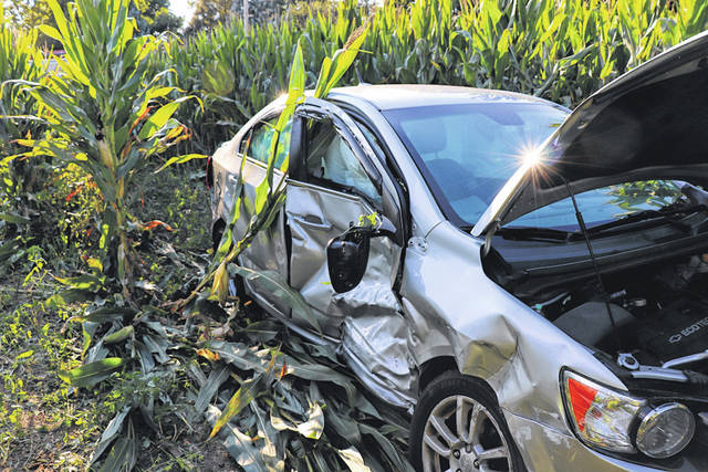 Two vehicles ended up in a cornfield near Greenville following an accident Thursday evening. The collision resulted in minor injuries to the two drivers.
