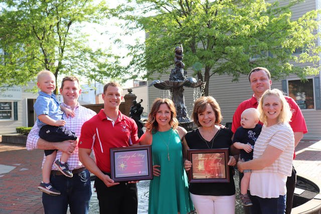 The Knapke family and Poultry Days were recently recognized by the Community Blood Center as a Platinum Partner. Pictured (l-r) are Doug Knapke with son Henry Knapke, 2019 Chairman Alex Luthman, Rachel Durham, Lois Knapke, Megan Knapke with son Maxwell Knapke and 2022 Chairman Dereck Smith. Not pictured are Lisa DiRenzo and Emmy D'Antonio.