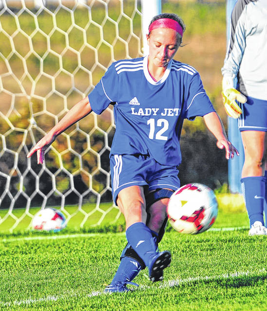 Franklin-Monroe's Chloe Brumbaugh is seen above playing a little defense in a game last year. This season, the junior feels fully recovered from an injury she suffered as a freshman and is ready to move back up front on offense for the Jets.