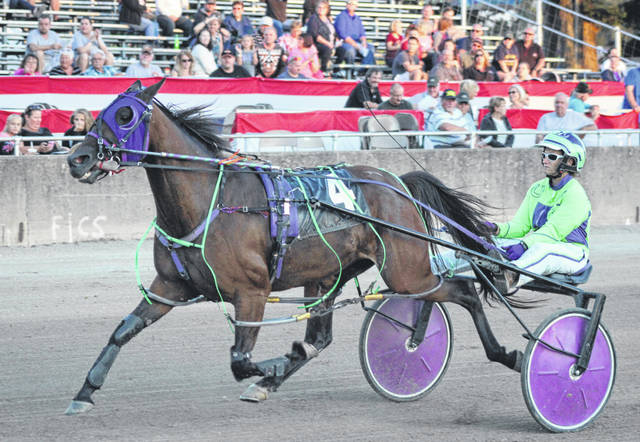 In Race 3 of Wednesday night's harness racing at the Darke County Fair, Royal Delta, driven and trained by Emily Hay, finished in fourth place in a time of 2 minutes, 1.2 seconds.