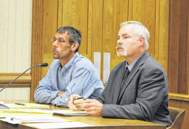 Eric Hemmelgarn (left, with attorney Paul Wagner) appeared in a Darke County Common Pleas Court bench trial Tuesday. The Greenville man is accused of gross sexual imposition and disseminating matter harmful to a juvenile. A verdict is expected Wednesday.
