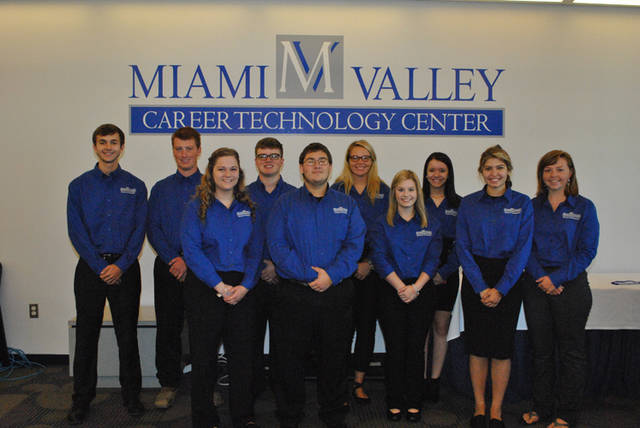 Miami Valley Career Technology Center student ambassadors for the 2018-19 school year from Darke County are (back row, l-r) Jordan Rhoades, heating, ventilation and air conditioning student from Franklin Monroe; Nathan Mescher, heavy equipment operator student from Versailles; Carter Ward, graphic commercial art student from Ansonia; Kirsten Zink, dental assistant student from Franklin Monroe; Megan Rinderle, medical lab assisting student from Versailles; (front row, l-r) Emma Price, cosmetology student from Tri-Village; Allen Christman, biotechnology student from Ansonia; Amanda Jeffers, pre-nursing student from Mississinawa Valley; Trinity Konwiczka, natural resource management student from Mississinawa Valley; and Olivia Keihl, business ownership student from Arcanum.