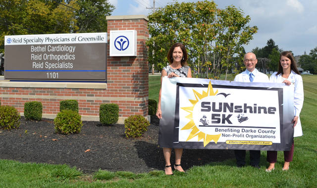 Reid Health is a lead sponsor of the SUNshine 5K on Sept. 15 in Greenville Park. Pictured (left to right) are Christy Prakel, executive director of the Darke County Foundation; Henry Chong, MD, of Reid Health's Bethel Cardiology; and Maria Muhlenkamp, NP, of Reid Health's Bethel Cardiology.