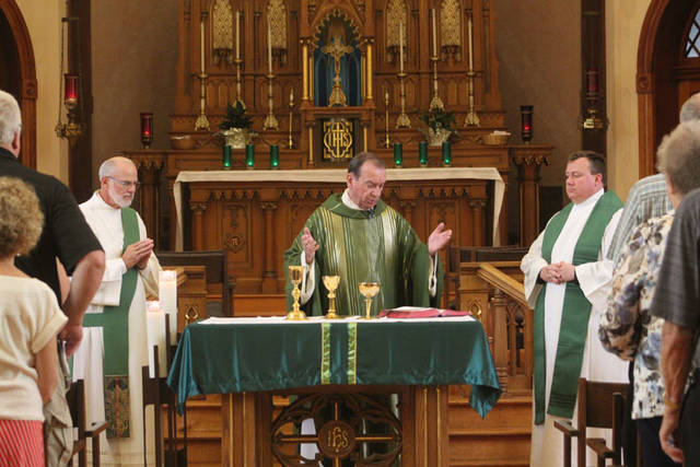 Deacon Clif Perryman, Archbishop Dennis Schnurr and Rev. Jeffrey Kirch held a Mass of Thanksgiving on Sunday at the Maria Stein Shrine of the Holy Relics.