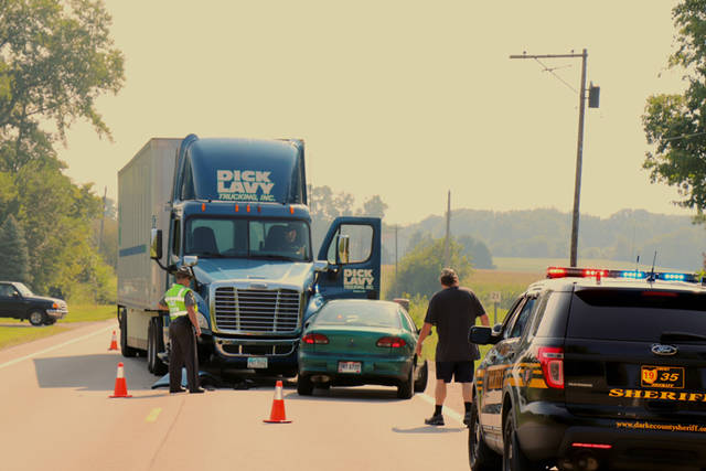 U.S. Route 36 was briefly closed Wednesday morning after a crash between a car and a semi. Ohio State Highway Patrol officials said preliminary investigation suggests the driver of a Chevy Cavalier attempted an illegal U-turn, causing the crash.