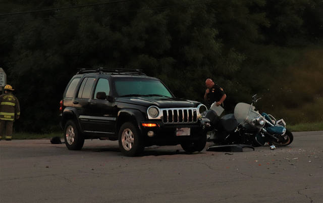 A motorcycle and a black Jeep Liberty collided early Thursday morning at the intersection of State Route 571 and Jaysville-St. Johns Road.