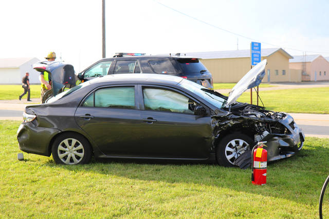 Three people were injured Wednesday morning when a driver failed to yield to oncoming traffic and caused a collision with another car, officials from the Darke County Sheriff's Department said.