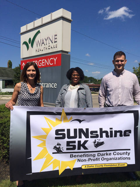 Wayne HealthCare is a major sponsor of the SUNshine 5K on Sept. 15 in Greenville Park. Pictured (left to right) are Christy Prakel, executive director of the Darke County Foundation; Terri Flood, Wayne HealthCare director of marketing and communications; and Jordan Francis; Wayne HealthCare wellness director.
