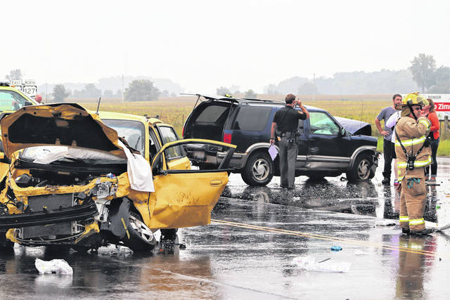 An elderly couple was seriously injured Friday during a collision at U.S. 36 and U.S. 127.
