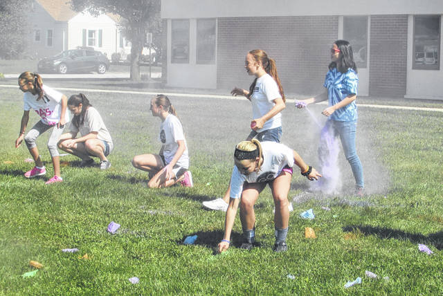 "Students from the Arcanum-Butler chapter of Darke County We Are the Majority staged a ""friendly Color War"" with students from Franklin Monroe on Saturday afternoon."