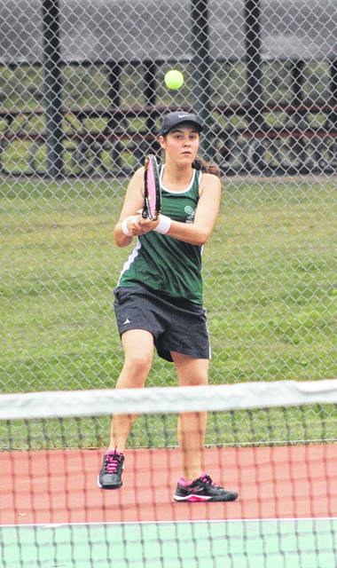 Greenville's Abby Swensen competes in a third singles match on Thursday in the Greater Western Ohio Conference Gold Flight championships at Troy.