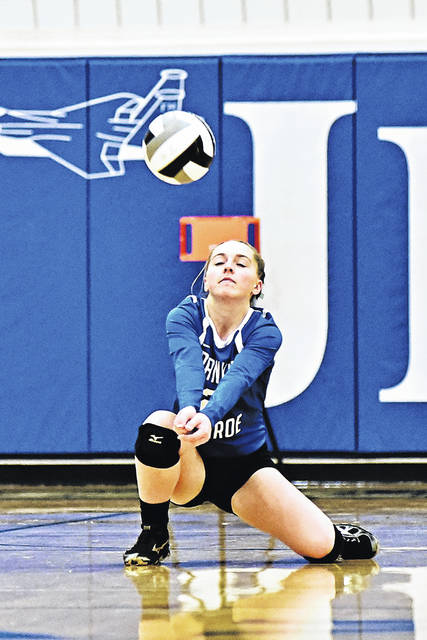 Franklin-Monroe's Belle Cable goes down for a dig in a Cross County Conference match with Tri-Village last Thursday. The Lady Jets won the overall match in three sets.