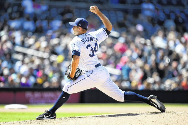San Diego pitcher Craig Stammen is on the mound for the Padres in this photo from an April 5, 2018 game against the Colorado Rockies at Petco Park in San Diego. Stammen, a Versailles High School graduate and North Star native, was in Cincinnati this past weekend as his team played a four-game series with the Cincinnati Reds.