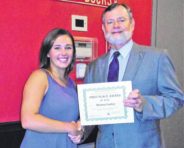 Brenna Loxley, first-place winner of the Theodore L. Finnarn Scholarship award is pictured with Theodore O. Finnarn, son of Theodore L. Finnarn and Secretary-Treasurer of the Darke County Farmers Union.