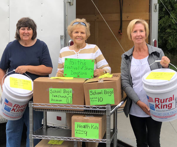 Arcanum Faith United Methodist Church was a collection depot for church world service kits. Pictured (l-r) are Festival of Sharing Coordinator Janice Michael, Sharon Karns and Terry Johns.