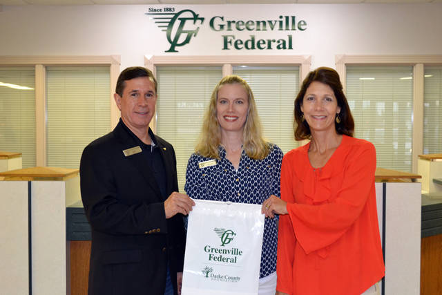 Greenville Federal is a supporter of the SUNshine 5K on Sept. 15 in Greenville Park. The bank supplied the participant bags shown here and also provided financial sponsorship. Pictured (left to right) are Jeff Kniese, president and CEO of Greenville Federal; Susan Barker, CFO of Greenville Federal and trustee of the Darke County Foundation; and Christy Prakel, director of the Darke County Foundation.