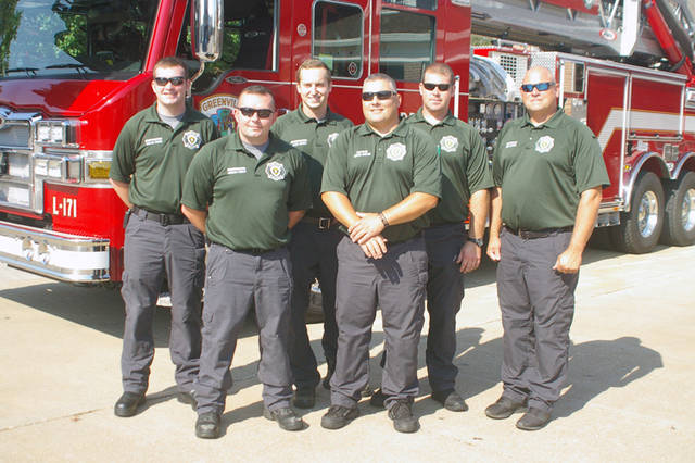 The City of Greenville Fire Department will host a fire prevention open house from 1 to 4 p.m. Oct. 7 at the fire station. Pictured are (front row, l-r) Jordan Utrup, Capt. Kevin Subler, (back row, l-r) Dylan Kolb, Alex Huels, Wayne Bruening and Lt. Dirk Lewis.
