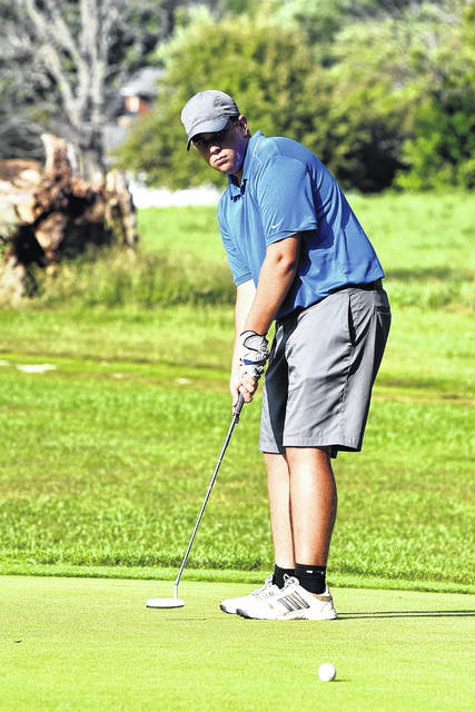 Franklin-Monroe's Jacob Aslinger attempts a putt during the Jets dual match with Mississinawa Valley on Tuesday at Turtle Creek Golf Course. Aslinger was the medalist with a 45 as FM won the match on a tiebreaker score.