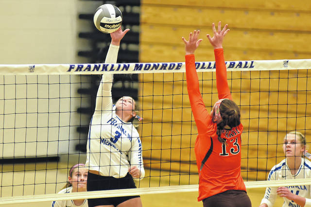 Franklin-Monroe's Kloe Zink (3) gets a smash over the net against visiting National Trail on Tuesday night in a Cross County Conference battle. The Jets topped the Blazers in three sets.