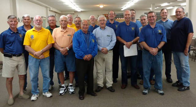 Union City Lions Club members who had perfect attendance during the 2017-18 Lions year were honored Tuesday. Pictured are (front row, l-r) Larry Amspaugh, Mick Carpenter, Larry Applegate, George Green, David Lenkensdofer, Owen Griffith, Joe Wyant, (back row, l-r) Dan Green, Gary Miller, Doug LeMaster, Jack Anderson, Troy Rose, Sam Davenport, Ed Speight, Harold (Hoddy) Speight, Blake Clevenger and Kevin Lehman.