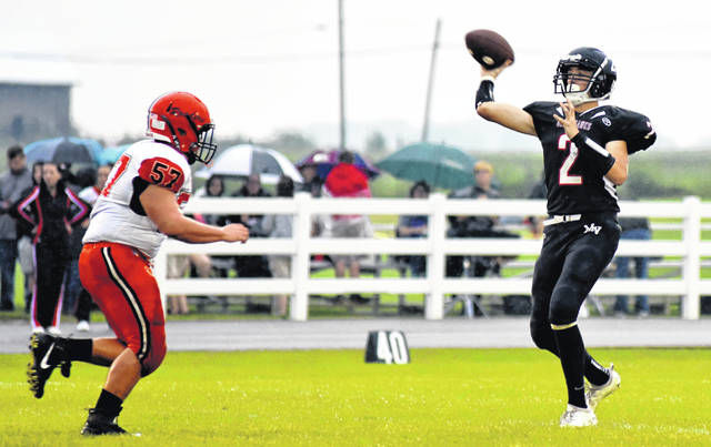 Mississinawa Valley quarterback Trent Collins (2) had a record-setting game against Bradford last week throwing 6 touchdown passes for a new school single-game record.
