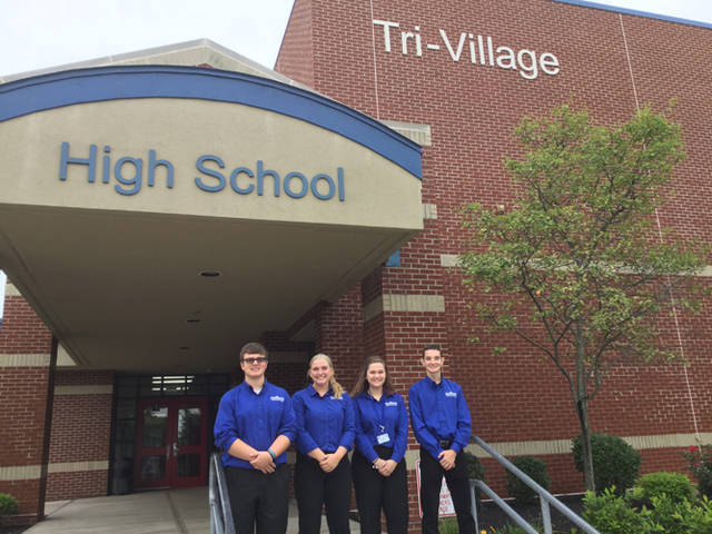 The Miami Valley Career Technology Center student ambassadors visited Tri-Village sophomores on Wednesday. Pictured (l-r) are students ambassadors from MVCTC including Caden Vance (robotics and automation from Valley View), Emma Price (cosmetology from Tri-Village), Riley Cruse (early childhood education from Tri-County North) and Carter Ward (graphic commercial art from Ansonia).