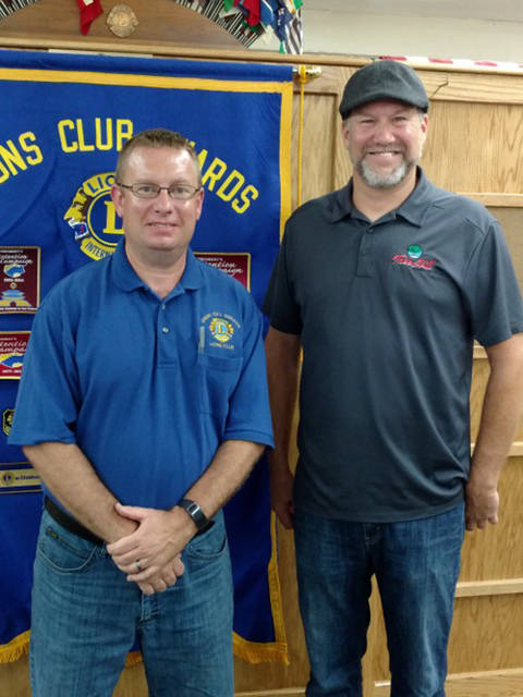 Pictured are Union City Lions Club President Joe Wyant and Darby Livingston from Tree Hill Farms in Union City, Indiana.