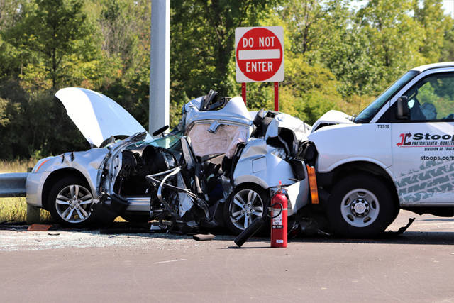 A 64-year-old man from Celina was transported to Miami Valley Hospital by CareFlight following a three-vehicle crash at U.S. Route 127 and State Route 121 on Thursday.