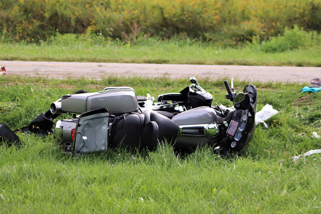 Daniel G. Wright, of New Madison, suffered a head injury when he crashed his motorcycle on Sunday afternoon.