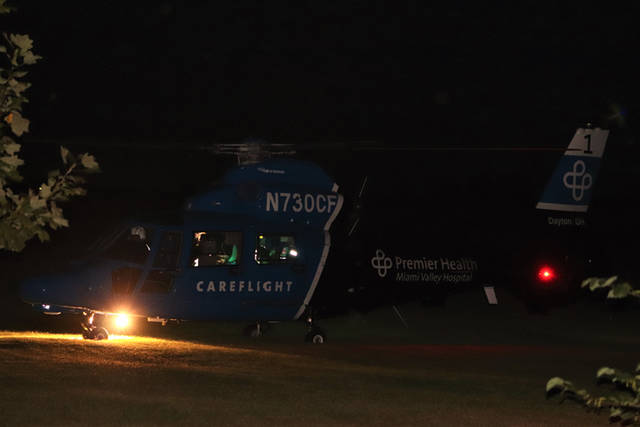 A girl was kicked by a horse and suffered injuries to the head and neck, requiring her to be treated by Tri-Village Rescue before being transported to Miami Valley Hospital by CareFlight