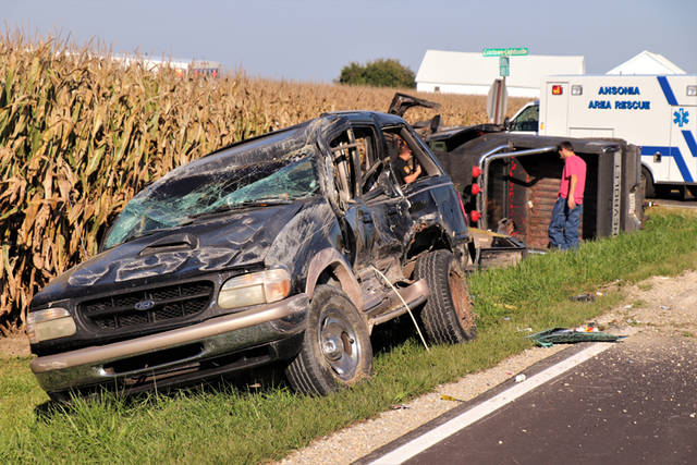 Two vehicles rolled in a crash at the intersection of Beamsville-Union City and Coletown-Lightsville roads on Thursday.