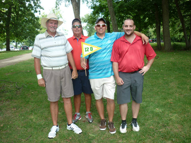 The Low Gross Score Division winner was Team No. 12B, the Joe Sowers Team of (l-r) Tom Young, Scott Bowman, Joe Sowers and Shaun Duplessis.