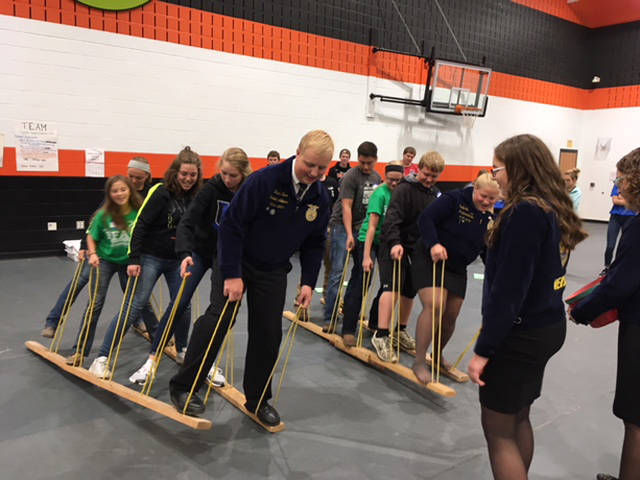 Greenhands played Lava Pit with the help of Versailles FFA officers during their teamwork sessions.