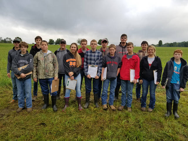 Arcanum MVCTC FFA Soil Judging Team Members were (l-r) Blayne Hess, Cole Besecker, Jake Goubeaux, Ryan Delk, Ethan Garbig, Gracie Garno, Levi Walker, Landon Haney, Ray Denniston, Austin Stephens, Zach Smith, Luke Brinksneader, Vance Wetzel, Laney Fourman and Jacob Warren.