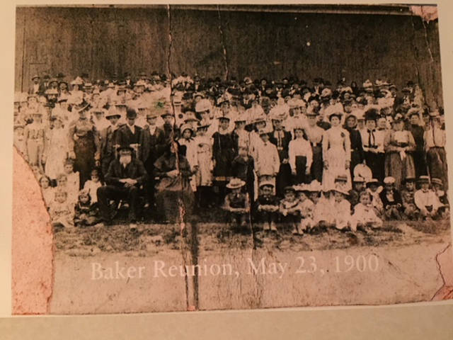 This picture, containing 400 to 500 people, was created at The Baker Reunion near Pitsburg in 1900.