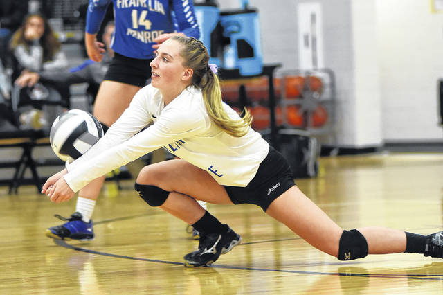 Franklin-Monroe's Belle Cable goes down to the floor for a dig on Wednesday night during a Division IV sectional finals match against Fort Loramie. The Lady Jets lost to the Redskins in three sets.