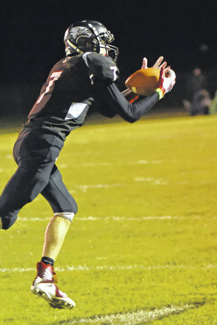 Mississinawa Valley junior Blake Scholl tied the school record for receptions in a single season this play Friday night against Arcanum. He would break the record with his third catch later in the game. The Blackhawks won the game 26-6.