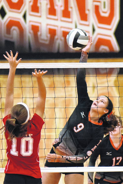 Arcanum junior Camille Pohl (9) has been named the Cross County Conference Player of the Year for girls volleyball.