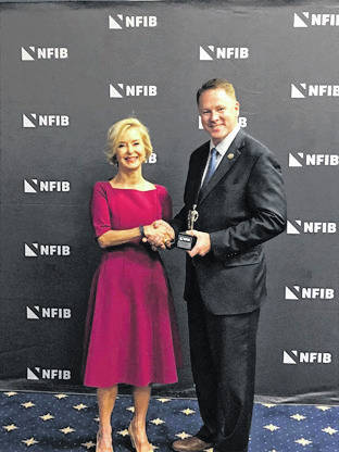 Pictured are National Federation of Independent Business President and CEO Juanita D. Duggan and Rep. Warren Davidson.