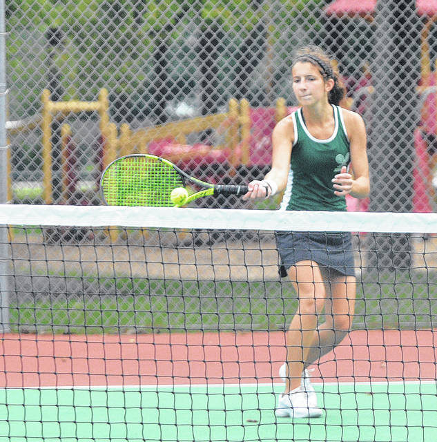 Greenville's Emily Marchal competed in the singles bracket at the Division I sectional tennis tournament at Troy on Wednesday. Marchal and fellow singles player Natalie Milligan qualified for next week's district tournament, as did the doubles team of Marabelle Lance and Anna Manges.