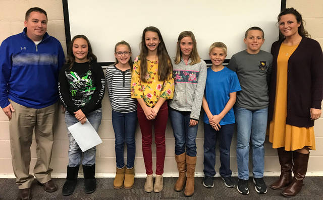 Franklin Monroe Elementary recognized sixth grade students during its scheduled Board of Education meeting on Oct. 15. Students pictured (l-r) include Maggie Polson, Adi Tucker, Layni Ressler, Kori Garber, Keir Boyd and Brady Wackler. Also pictured are the Franklin Monroe sixth grade teachers Brian Happy and Amanda Wackler.