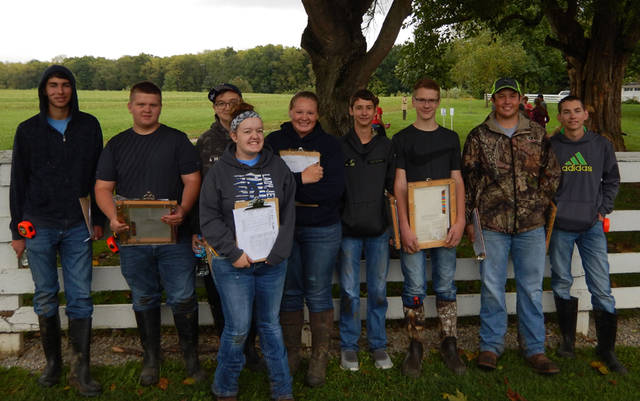 Participants in the soils judging contest included (l-r) Brendan Wray, Kolby Rogers, Zach Little, Elisabeth Williams, Morgan Hissong, Colton Beatty, Mason Garber, Jacob Winterrowd and Walker Lindemuth.