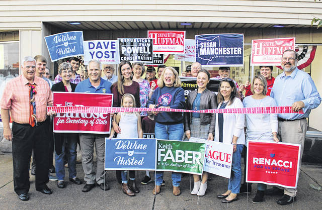The Darke County Republicans cut the ribbon for their election headquarters Friday. The HQ, 606 S. Broadway in Greenville, will be open Thursdays and Fridays from 3 to 5 p.m. and Saturdays from 8 a.m. to 1 p.m. for those seeking yard signs and campaign literature.